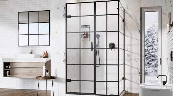 Liberty Black Grid Hinged Door
